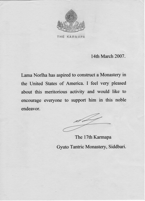 letter from his holiness gyalwang karmapa